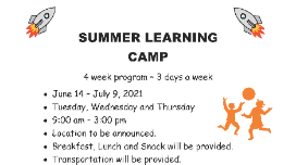 Summer Learning Camp Flier
