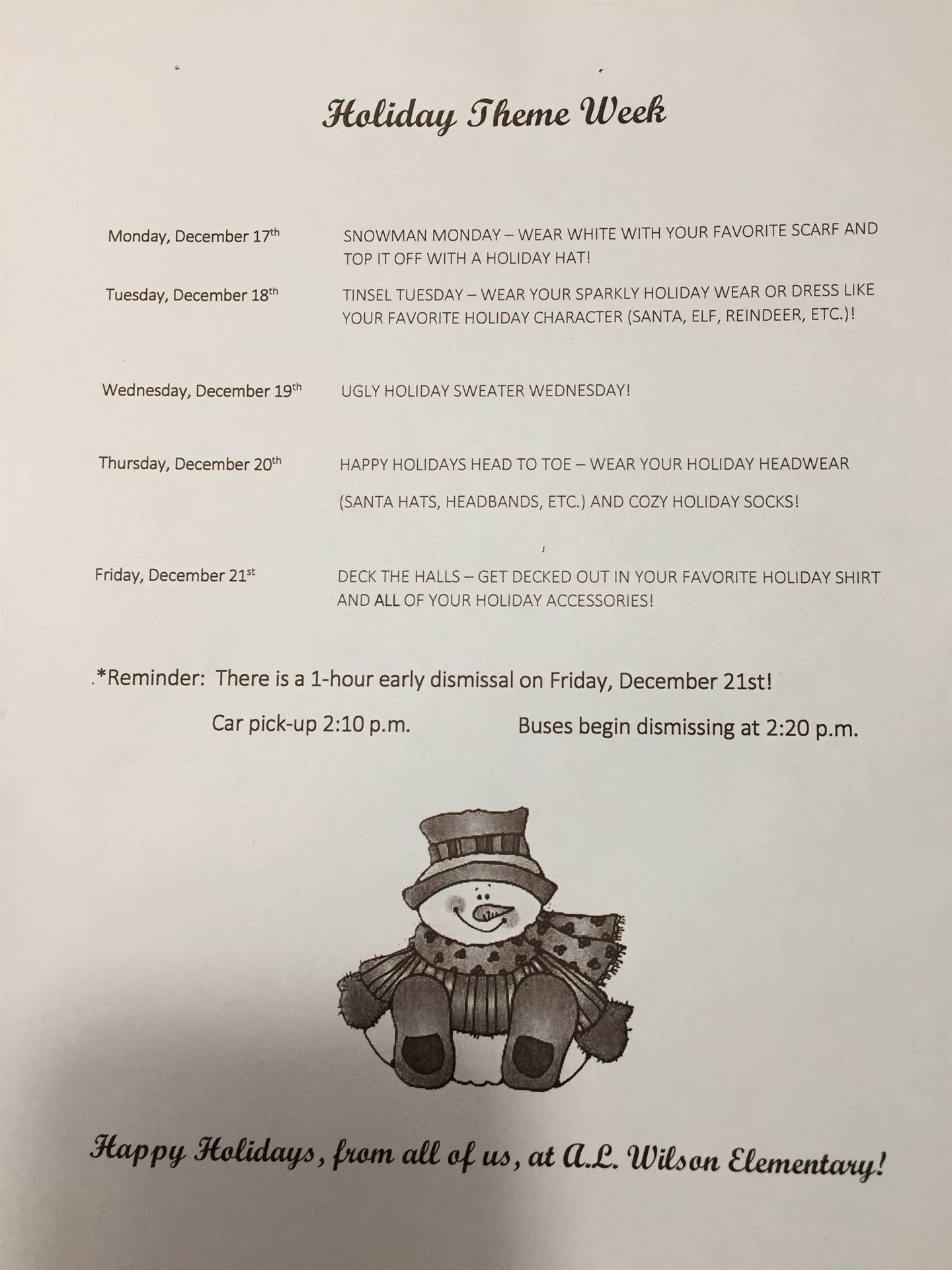 Holiday Week Schedule